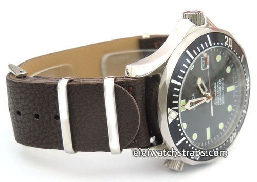 NATO Dark Brown Leather Watch Strap For Omega Seamaster & Omega Planet Planet Ocean Watches