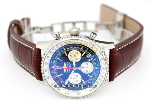 Dark Brown Alligator Grain Padded Leather Watchstrap on Deployment Clasp For Breitling Navitimer