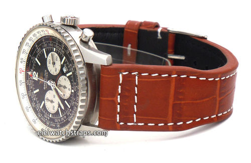 Aviator 22mm Black Alligator watch strap on Deployment Clasp For Breitling Navitimer