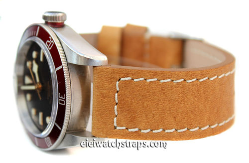 Double Thickness Cut Edge Saddle Brown Leather Watch Strap For Tudor Watches