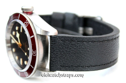 Double Thickness Cut Edge Black Leather Watch strap For Tudor Watches