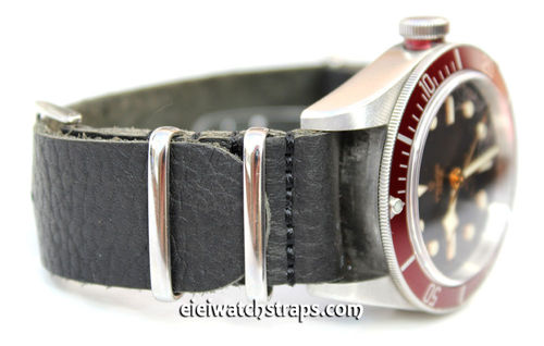NATO Genuine Black Leather Watch strap For Tudor Black Bay Watches