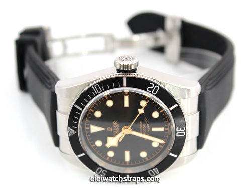 Monza 22mm Silicon Rubber Divers Watchstrap on Stainless Steel Deployment For Tudor Black Bay Watch