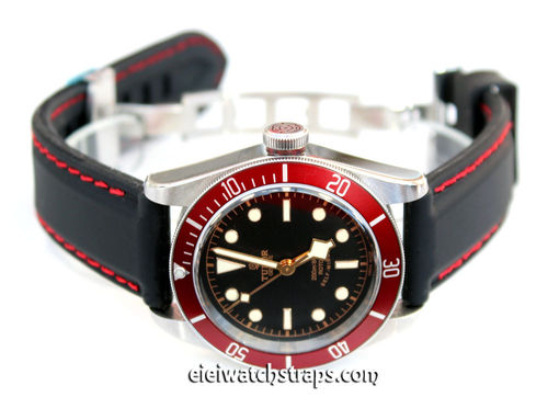 Silicon Rubber Watchstrap Red Stitched on Stainless Steel Deployment For Tudor Black Bay Watch