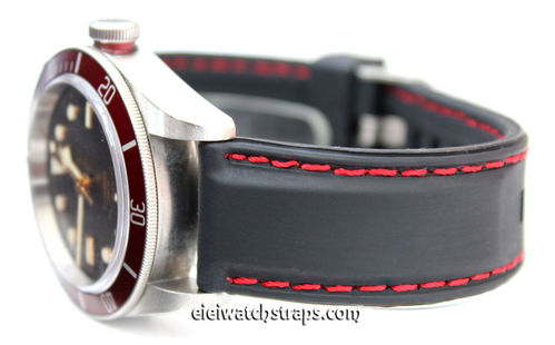 Silicon Rubber Watchstrap Red Stitched For Tudor Black Bay Watches