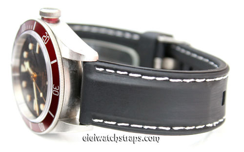 Silicon Rubber Watchstrap White Stitched For Tudor Black Bay Watches