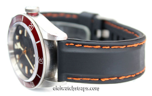 Silicon Rubber Watchstrap Orange Stitched For Tudor Black Bay Watches