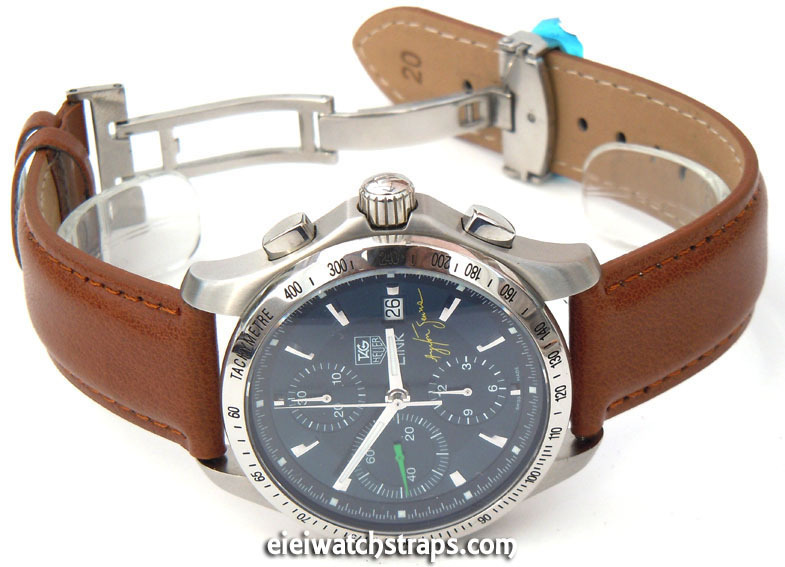 5bd1f7b3e Brown Leather Watch strap on butterfly deployant clasp For TAG Heuer Link  Watches ...