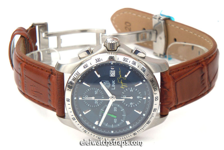 0d6540833 Brown Crocodile Watch Strap Butterfly Deployant Clasp TAG Heuer Link Watches  ...