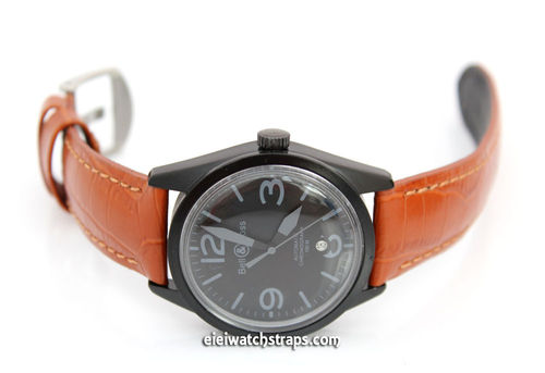 Classic Brown 22mm Crocodile Grain Leather Watchstrap For Bell & Ross Watches
