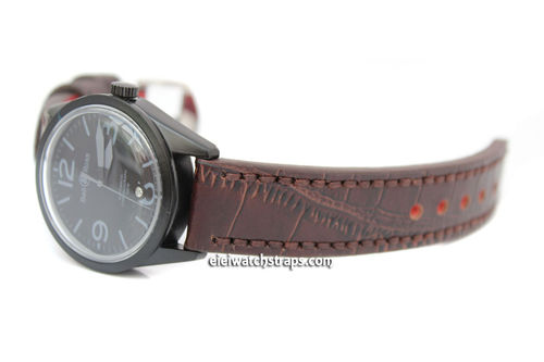 Handmade Brown Alligator Watch Strap For Bell & Ross Watches