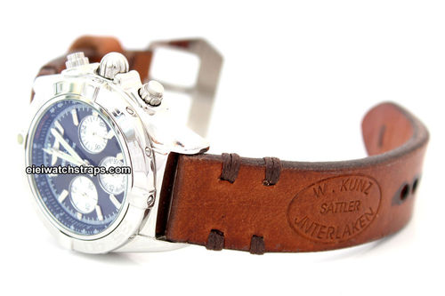 Kunz Hand Made Vintage style Ammo Leather watch strap For BREITLING Chronomat