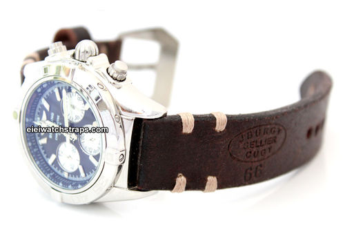 Cugy Hand Made Vintage style Ammo Leather watch strap For BREITLING Chronomat