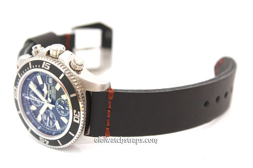 Metta Oiled Black leather watch strap