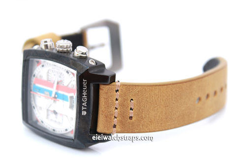 22mm Handmade Aged Tan Genuine Leather Watch Strap For TAG Heuer Monaco