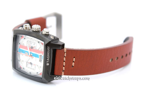 Handmade Aged Brown Genuine Leather watch strap For TAG Heuer Monaco