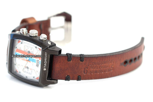 Dom Hand Made Vintage style Ammo Leather watch strap For TAG Heuer Monaco