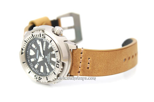 22mm Handmade Aged Tan Genuine Leather watch strap For Seiko Watches