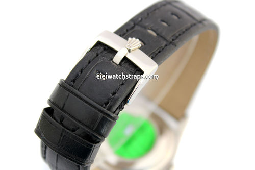 Padded Black Crocodile Grain Leather Watch Strap with Rolex Tang Buckle