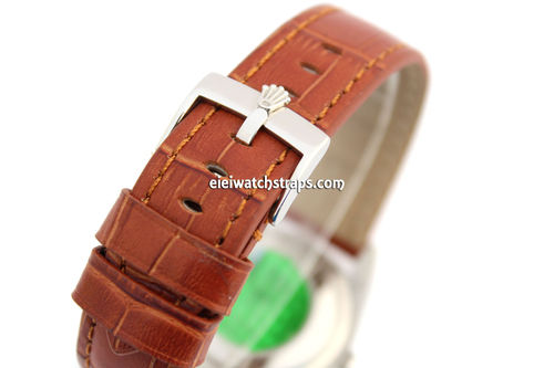 Padded Brown Crocodile Grain Leather Watch Strap with Rolex Tang Buckle