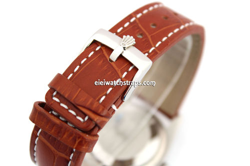 20mm Brown Alligator Grain Padded Leather Watch Strap For Rolex Watches