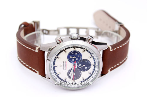 LIBERTY Hand Made Brown Leather Watch Strap on Deployment Clasp for Zenith El Primero