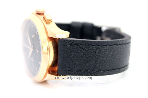 22mm Oiled Black Leather Leather Watch Strap For Jaeger-LeCoultre Watches