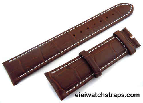 20mm Classic Brown Crocodile Grain Leather Watch Strap