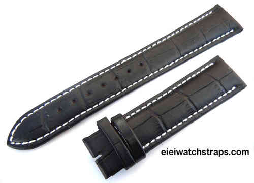 20mm Classic Black Crocodile Grain Leather Watch Strap