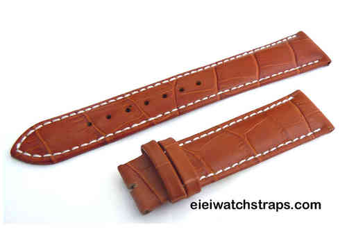 20mm Classic Light Brown Crocodile Grain Leather Watch Strap