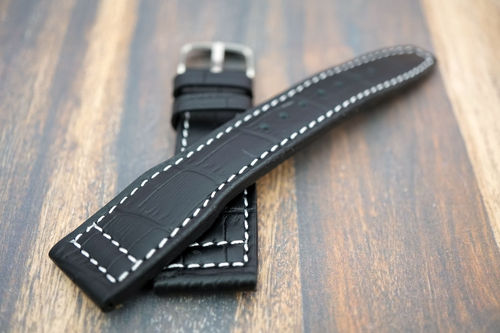 Double Thickness Cut Edge Aviator Hand Made 22mm Black Alligator watch strap
