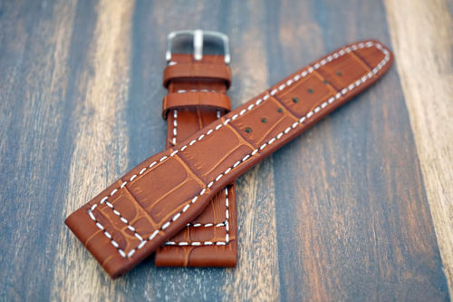 Double Thickness Cut Edge Aviator Hand Made 22mm Dark Brown Alligator watch strap