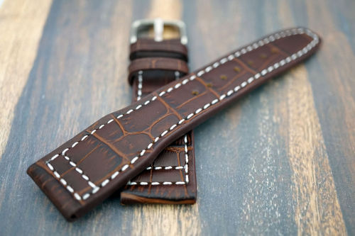 Double Thickness Cut Edge Aviator Hand Made 22mm Brown Alligator watch strap