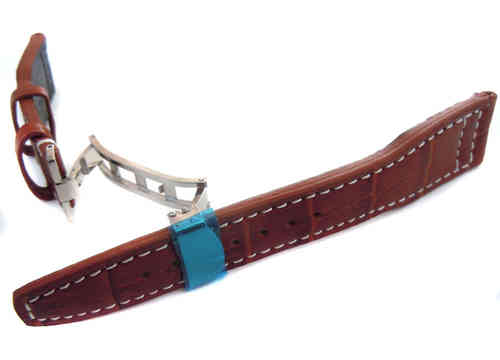 Aviator Hand Made 22mm Brown Alligator watch strap on Deployment Clasp