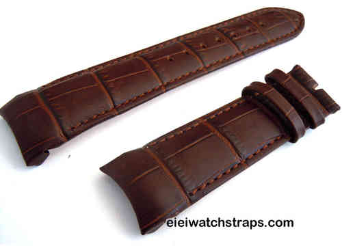 Brown Crocodile Curved lug Ended Watch Strap