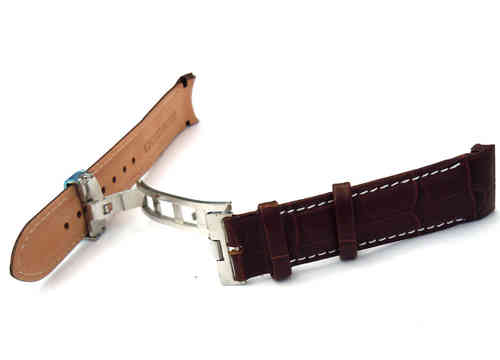 20mm Crocodile Curved lug Ended contrast white stitching Watch Strap on Deployment Clasp