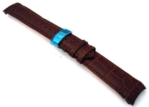 Brown Crocodile Curved lug Ended Watch Strap on Deployment Clasp