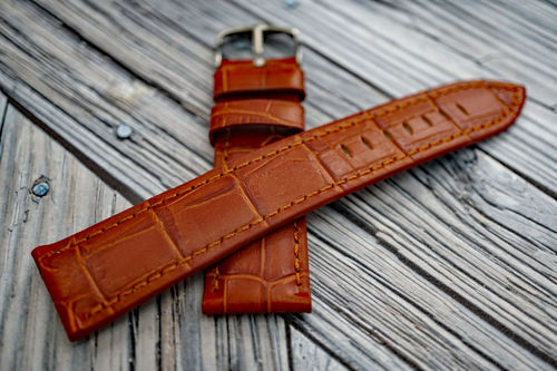 Classic Brown Crocodile Grain Leather Watch Strap