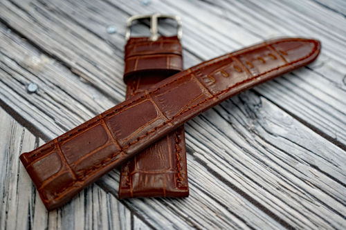 Classic Dark Brown Crocodile Grain Leather Watch Strap