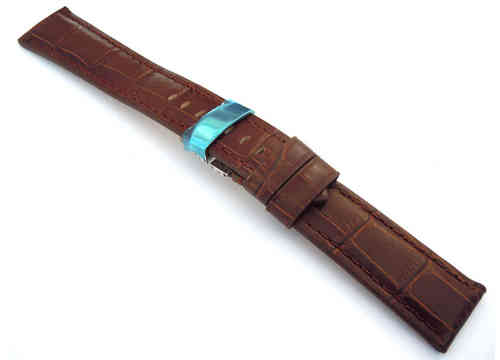 Classic Dark Brown Crocodile Grain Leather Watch Strap on Deployment Clasp