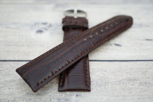 22mm Crocodile Oval Grain Leather Watch Strap