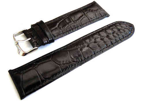 24mm Crocodile Oval Grain Leather Watch Strap