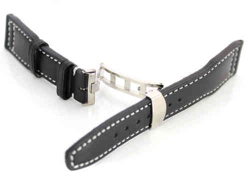 Aviator Hand Made 22mm Black Leather watch strap on Deployment Clasp