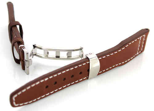 Aviator Hand Made 22mm Dark Brown Leather watch strap on Deployment Clasp