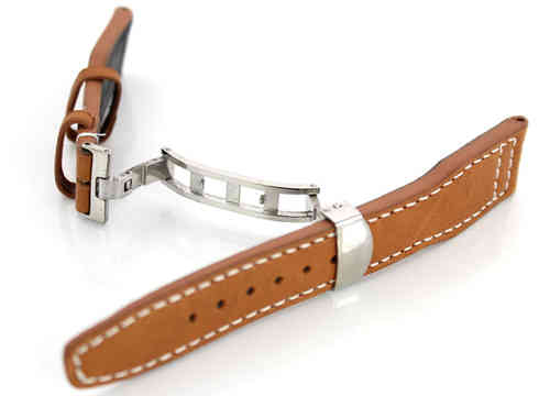 Aviator Hand Made 22mm Tan Brown Leather watch strap on Deployment Clasp