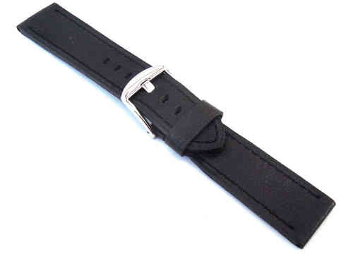 22mm Oiled Black Leather Leather Watch Strap