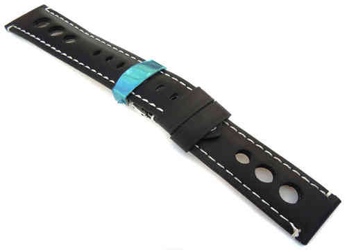 Grand Prix Black Leather Watch strap on Deployment Clasp