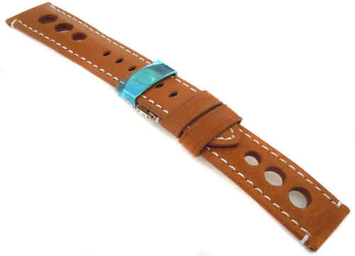 Grand Prix Tan Leather Watch strap on Deployment Clasp