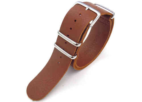 NATO Genuine Brown Leather Watch Strap