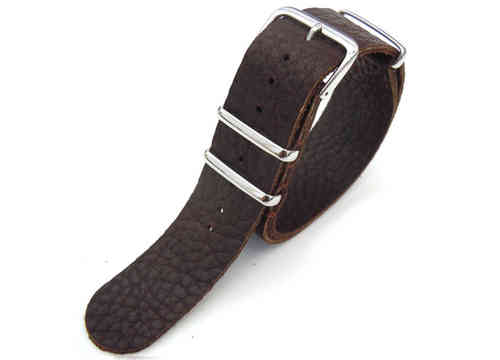 NATO Genuine Coffee Leather Watch Strap